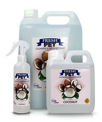 FRESH PET Pack Kennel/Cattery Disinfectant COCONUT 250ml Spray 1L Spray + 5L