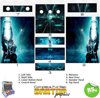 Tron Full/Half Sets Arcade Artwork Stickers Graphics / Laminated All Sizes