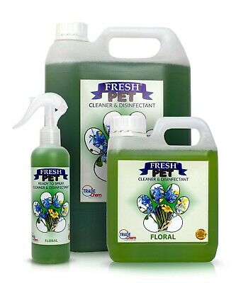 FRESH PET Pack Kennel/Cattery Disinfectant FLORAL 250ml Spray 1L Spray + 5L
