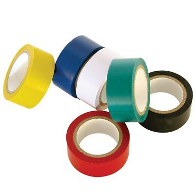 8 ROLLS 5M x 18MM ELECTRICIANS ELECTRICAL PVC INSULATING TAPE ASSORTED COLOURS