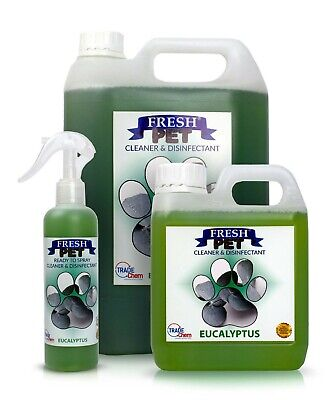 FRESH PET Pack Kennel/Cattery Disinfectant EUCALYPTUS 250ml Spray 1L Spray + 5L