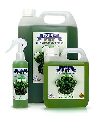 FRESH PET Pack Kennel/Cattery Disinfectant CUT GRASS 250ml Spray 1L Spray + 5L