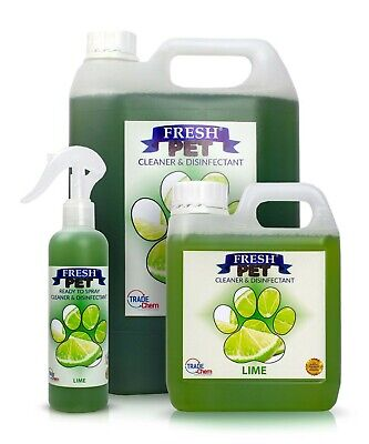 FRESH PET Pack Kennel/Cattery Disinfectant LIME 250ml Spray 1L Spray + 5L