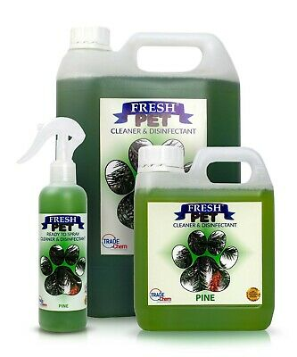 FRESH PET Pack Kennel/Cattery Disinfectant PINE 250ml Spray 1L Spray + 5L