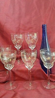 6 Vintage Hand Blown & Etched OPTIC Crystal Wine Glasses Wheat Flower