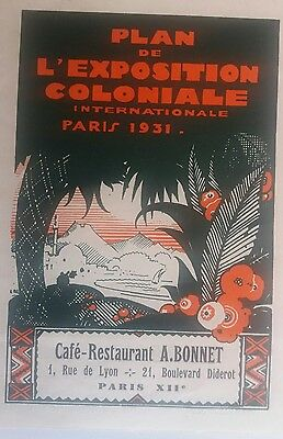 Plan de l'exposition coloniale internationale paris 1931 publicité A. Bonnet