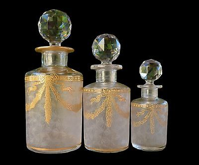 French Antique Set of Three Baccarat Crystal Perfume Bottles Dresser Vanity Set