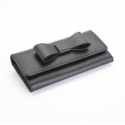 Royce Leather Black RFID Blocking Large Bow Wallet in Saffiano Leather