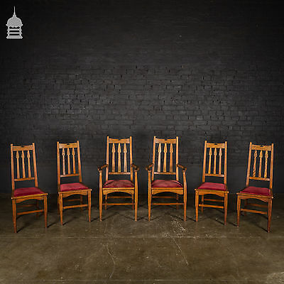 Set of 6 Liberty Arts and Crafts Dining Chairs Including 2 Carvers