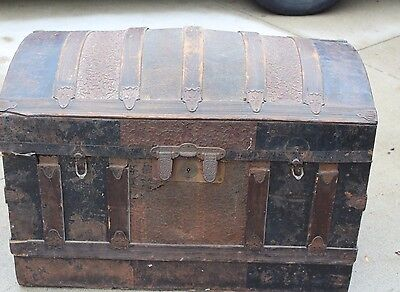 Antique 1880's Camel back Trunk;  Wood, leather and tin