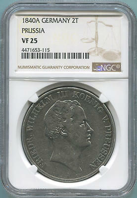 1840 A Germany 2 Taler. Prussia. NGC VF25. Thaler