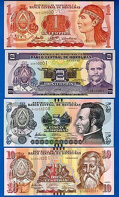 Honduras 1,2,5,10 Lempiras Years 2006-2012 Uncirculated Set # 4 FREE SHIPPING