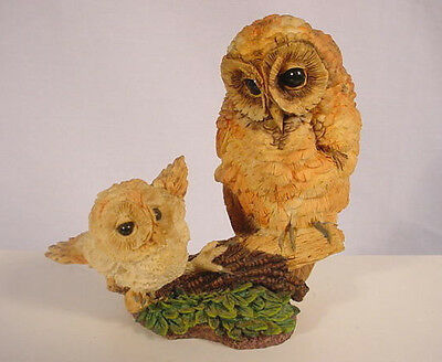 Hamilton Baby Owl w/ Mama LEARNING TO FLY Figurine Russell Willis 1994