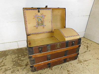 LARGE Antique Victorian Dome Top Trunk w Girl Decals & Inserts Wood Iron Straps