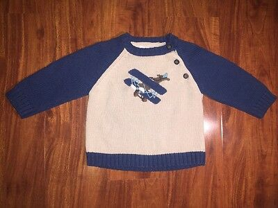 Janie and Jack Boys Long Sleeve Airplane Sweater Blue Size 6-12 Months