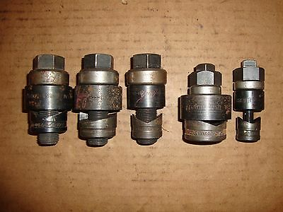 """Greenlee Conduit Knockout Punch 5-Piece Lot 1/2"""" 3/4"""" 1"""" 1-1/2"""""""