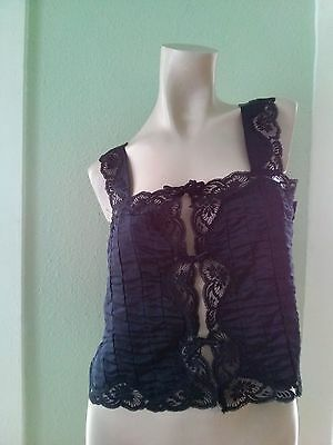 VTG 1980s Camisole Bralette Black Cami Top 80s Lily of France Sissy Pin Up Sz M