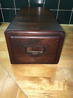 "VINTAGE ""Weis"" MISSION OAK CARD CATALOG LIBRARY FILING BOX"