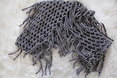 Justice Girl's Gray And Silver Knitted Infinity Scarf One Size