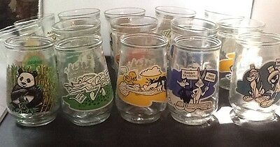 LOONEY TUNES+ OTHER Welch's Grape Jelly glasses lot of 15 / Excellent Condition
