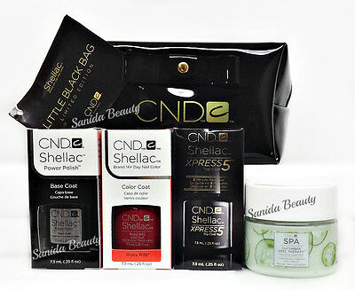 Limited CND LITTLE BLACK BAG - Base, Ruby Ritz, Xpress5 Top .25oz & Heel Therapy