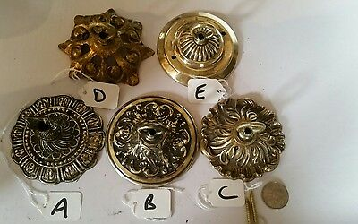 1 of 8 LARGER cast brass  CEILING ROSE chandelier hook ORNATE stunning C131