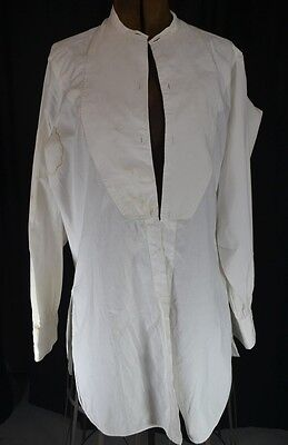 collarless shirt men dress cotton french cuffs white Paris antique original 1800