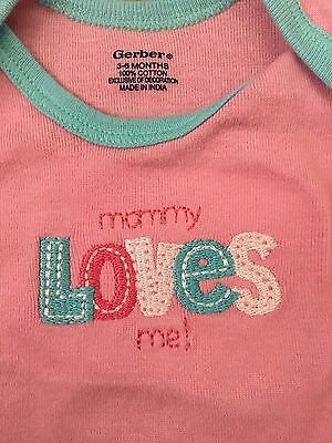 "Gerber Baby Girl Pink Onesie, ""Mommy Loves Me"", Size 3-6 Months"