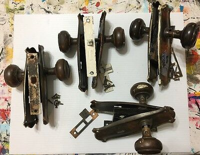 FOUR 4 Sets Antique Japanned Copper Flash Mortise Door Knob Sets Vintage