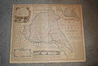 Reproduction 1753 Map of East Riding of Yorkshire by Emanuel Bowen