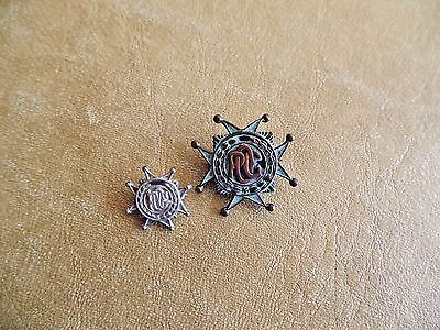 "Collectible P.O.C./OPC Pins, 1"" Copper & Bronze, 3/4"" Tiny Sterling"