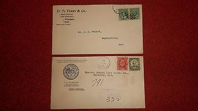 2 Advertising Covers  -  WINDSOR ONTARIO CANADA -  Registered 1932