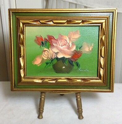 Beautiful Small Wood Carved Frame Canvas Oil Painting Signed With Wood Stand