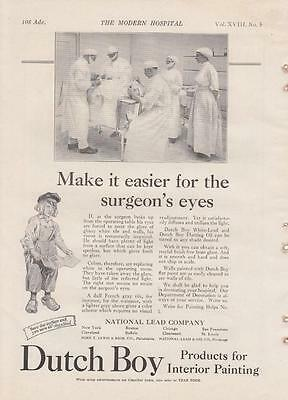 1922 Dutch Boy Interior Paints Ad: Surgeon and Staff Operating Room Patient