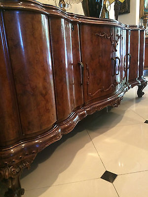 Antique Italian Buffet Sideboard F. Vanni Genova Four Door Inlaid Walnut