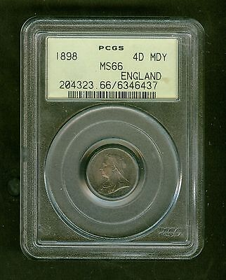1898 England 4 Pence Graded PCGS MS66