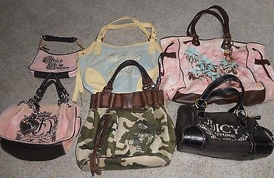 LOT of 6 authentic JUICY COUTURE velour & leather handbags purses