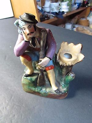Circa 1900 French Pottery Figural Man Inkwell With Spillvase