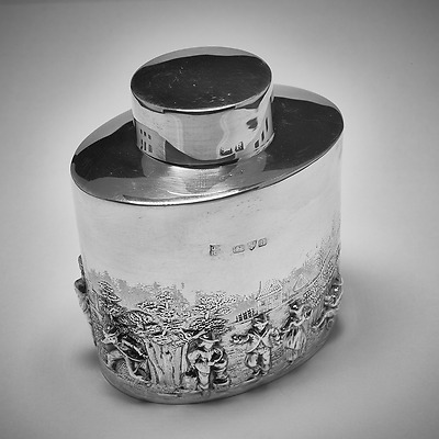 Antique solid Sterling Silver TEA CADDY embossed rural scenes, Chester 1900