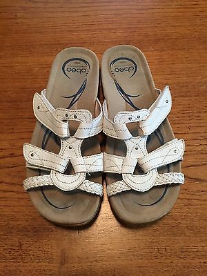 ABEO Bio Orthotic White Leather Sandals Women's size 9 Comfort Walking Shoes