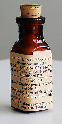 Antique/VTG Drug Store Pharmacy Apothecary Medicine Glass Bottle THYROID RX628