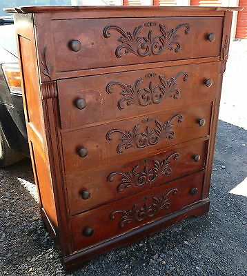 Antique Oak Tall 5Drawer Dresser Paneled Sides Dovetail Joinery Appld Decoration