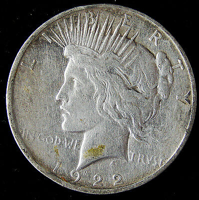 NICE 1922-D United States Peace Silver Dollar 90% Pure $1 Coin E42