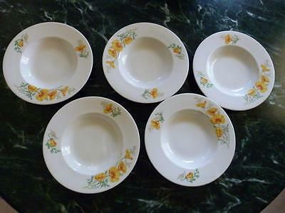 Set Of 5 Opco Syracuse China California Poppy Rimmed Soup Bowls