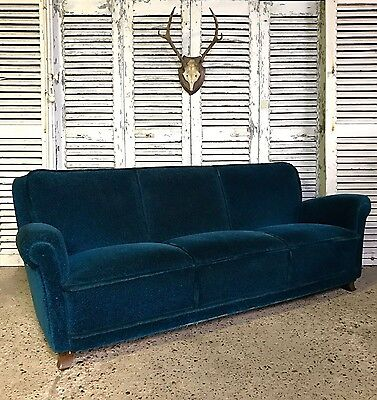 Superb Vintage French Art Deco Peacock Blue Sofa