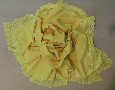 Vintage Yellow Cotton Rectangular Lace Edged Tablecloth 86 x 65 (Square)
