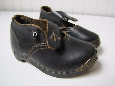 Antique VICTORIAN BLACK LEATHER WOOD CHILDRENS INFANT BABY TODDLER SHOES England