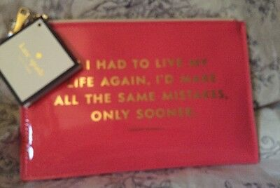 "NWT NEW - KATE SPADE Pencil Pouch ""...Same Mistakes"" 6 Piece Set $30 MSRP"
