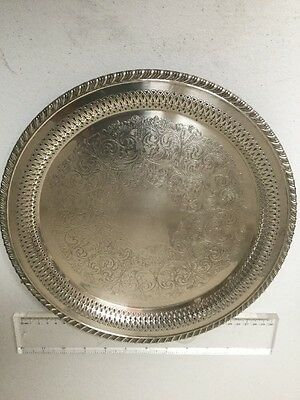 "Vintage 1940's Wm A Rogers Silver Plate Serving Tray Carol 12"" Drink Tray"