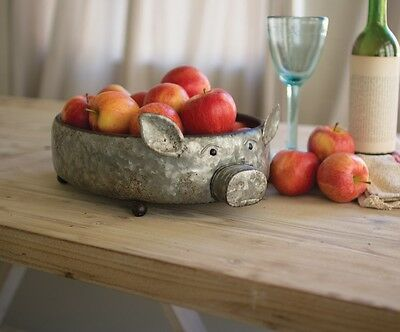 Farmhouse Country Reclaimed Metal Pig Bowl Galvanized Serving Tray Dish Rustic